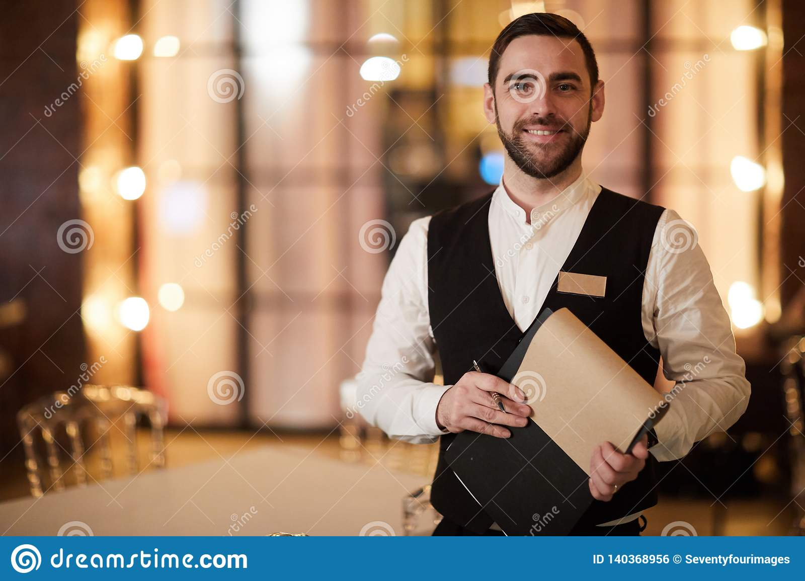 Profesional Waiter In Restaurant Stock Photo Image Of Menu Expensive 140368956