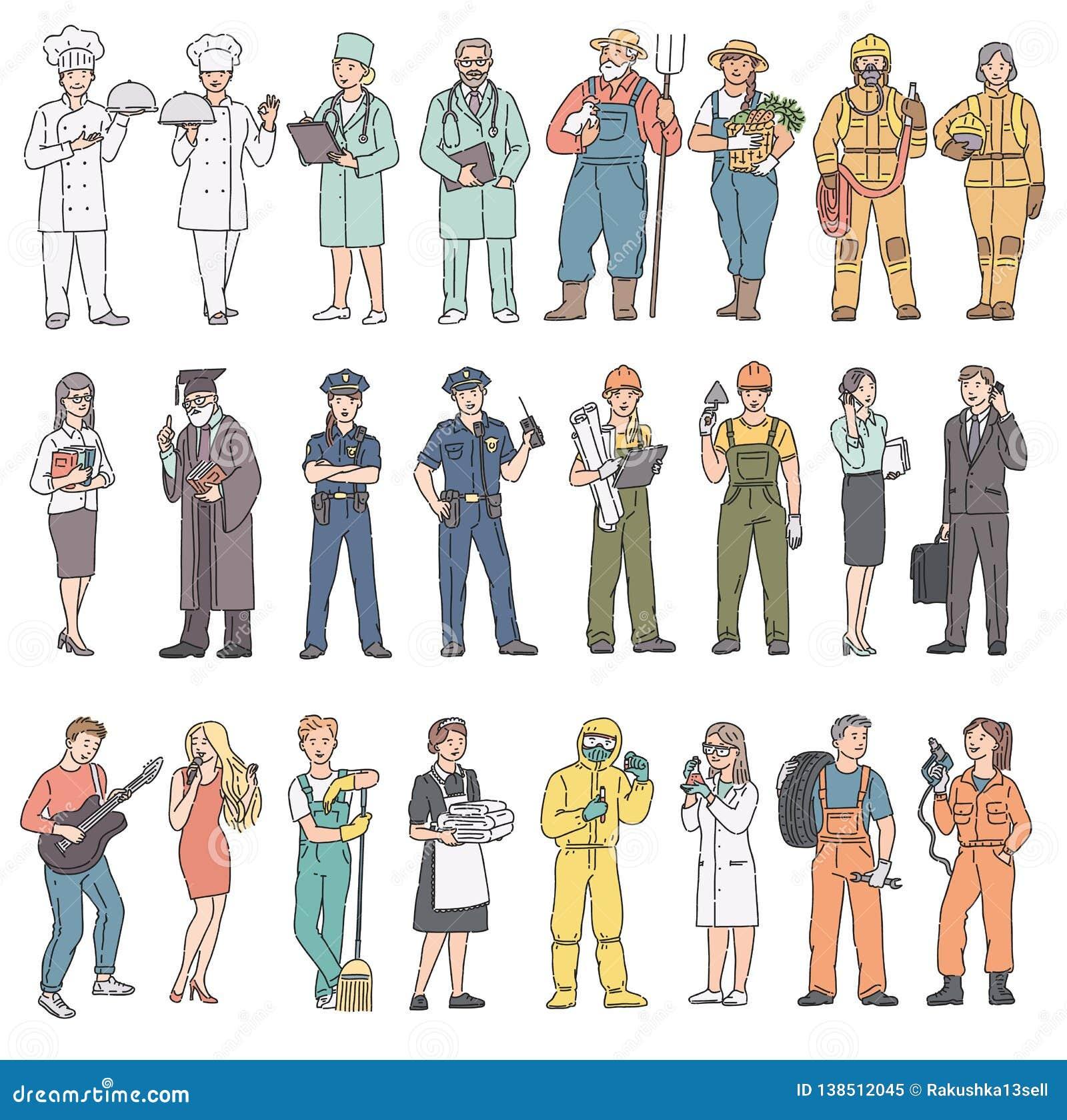 Profesiones de la gente de los adultos diversas en uniforme Mujeres y hombres del Día del Trabajo en ropa profesional Ejemplo del