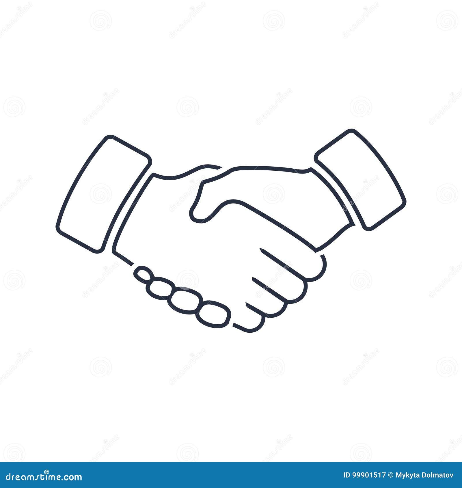 Profesjonalista mile widziany i szacuneku uścisku dłoni ikona Lojalność, piktogram, przyjaźń lub transakcja żeton partnerstwa,