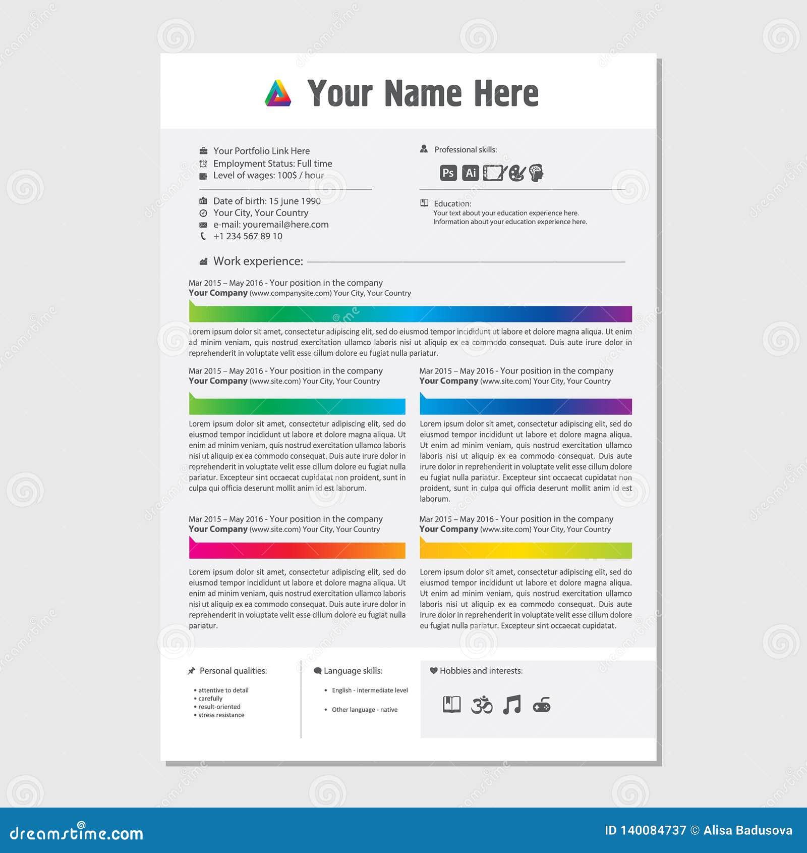 Profesjonalisty CV życiorysu koloru szablonu projekt dla kreatywnie osoby - wektorowy minimalista