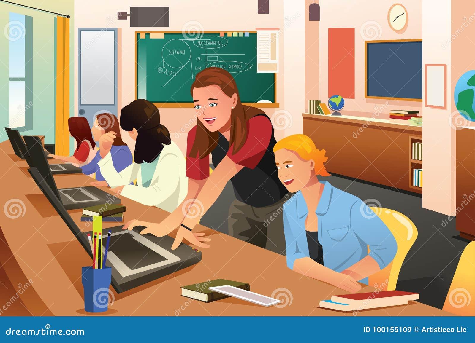Profesor de sexo femenino en clase del ordenador con los estudiantes
