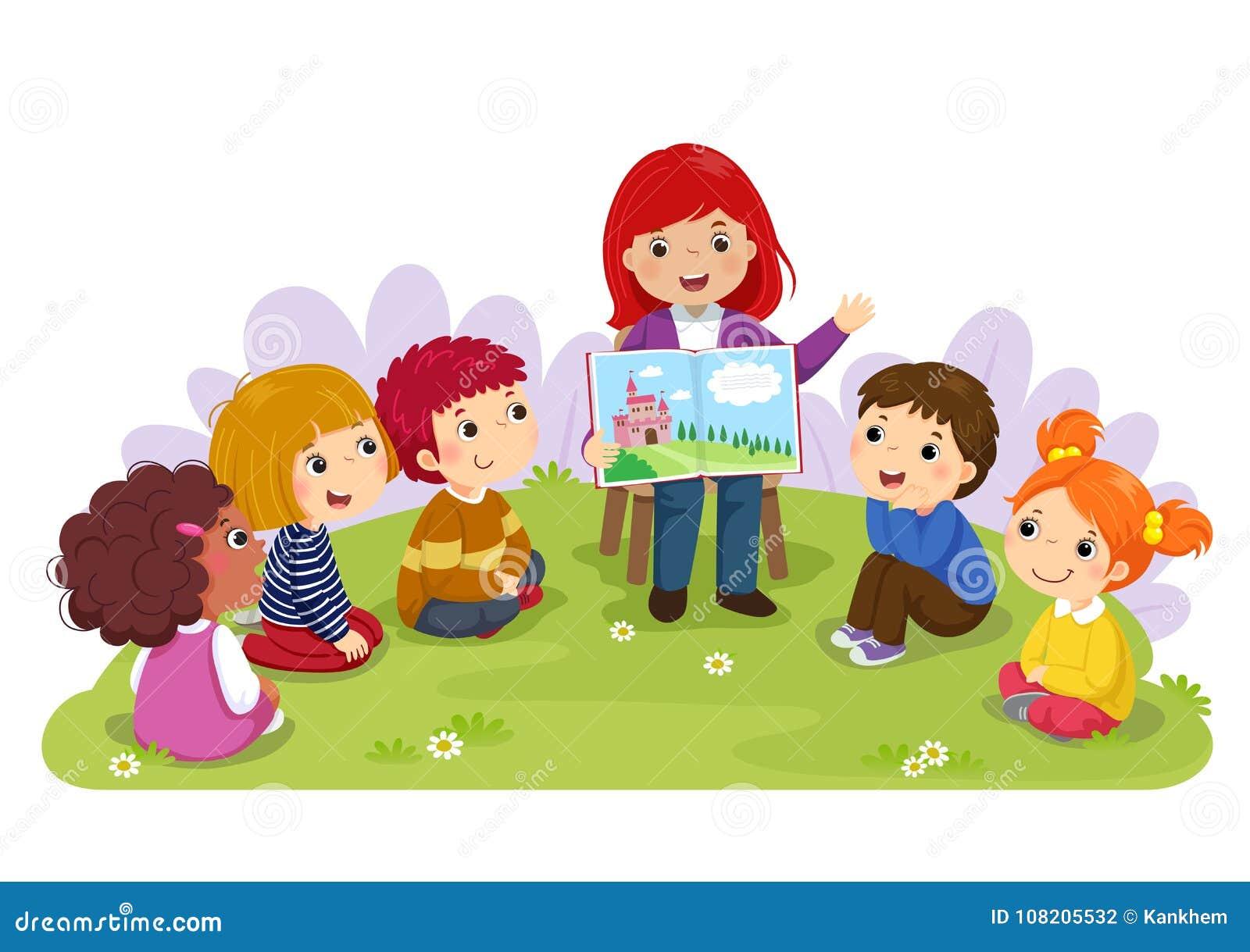 Profesor que cuenta una historia a los niños del cuarto de niños en el jardín