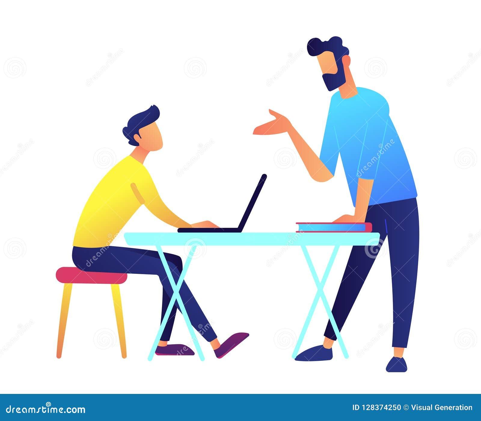 Profesor que da una conferencia y estudiante con el ordenador portátil en el ejemplo del vector del escritorio