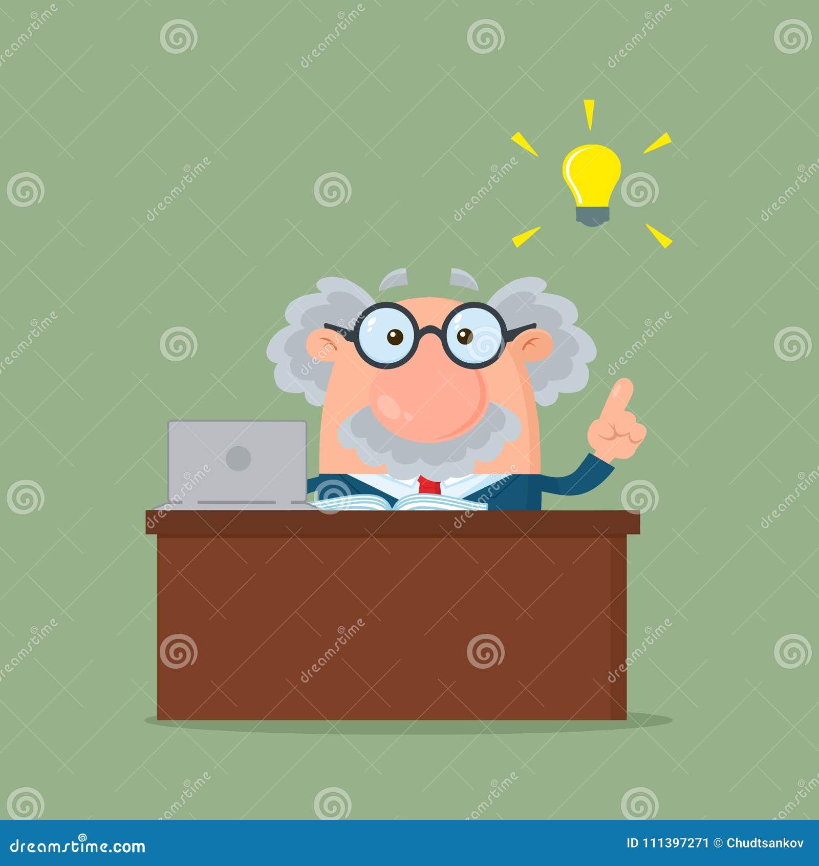 Profesora Lub naukowa postać z kreskówki Za biurkiem Z Dużym pomysłem