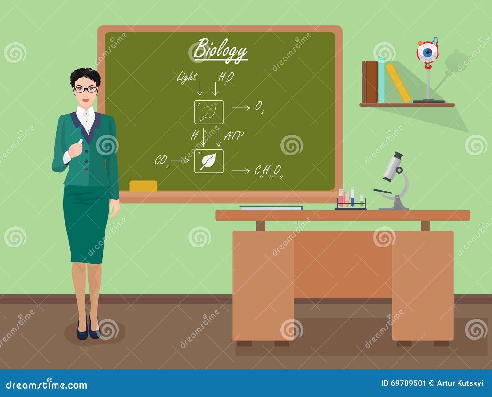Professeur féminin de biologie d école dans le concept de classe d assistance Illustration de vecteur