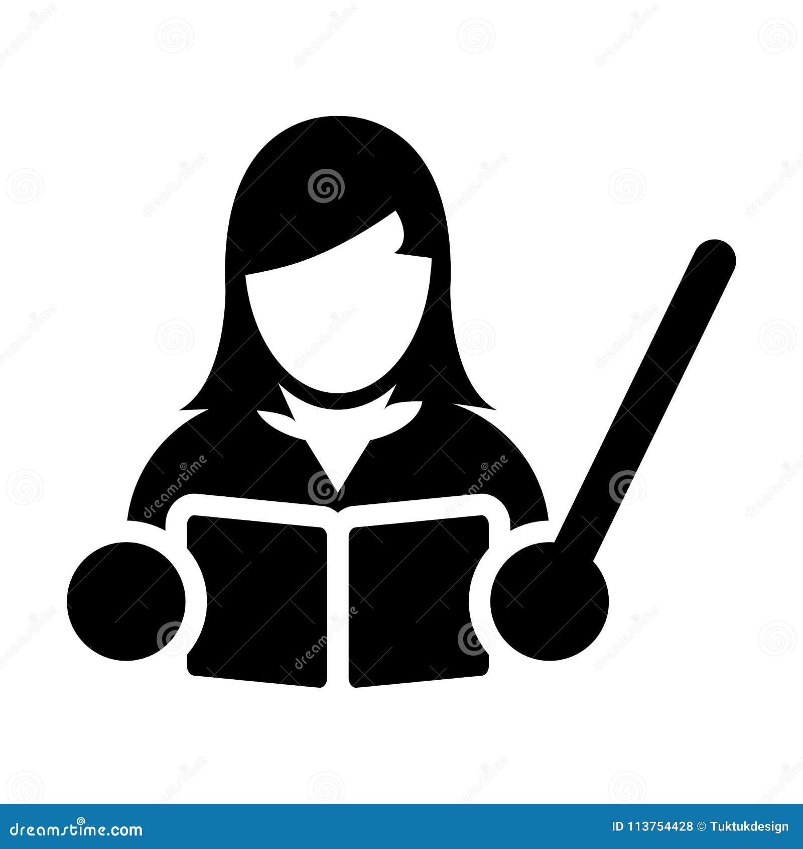Professeur Icon Vector Female Person Profile Avatar Avec Un