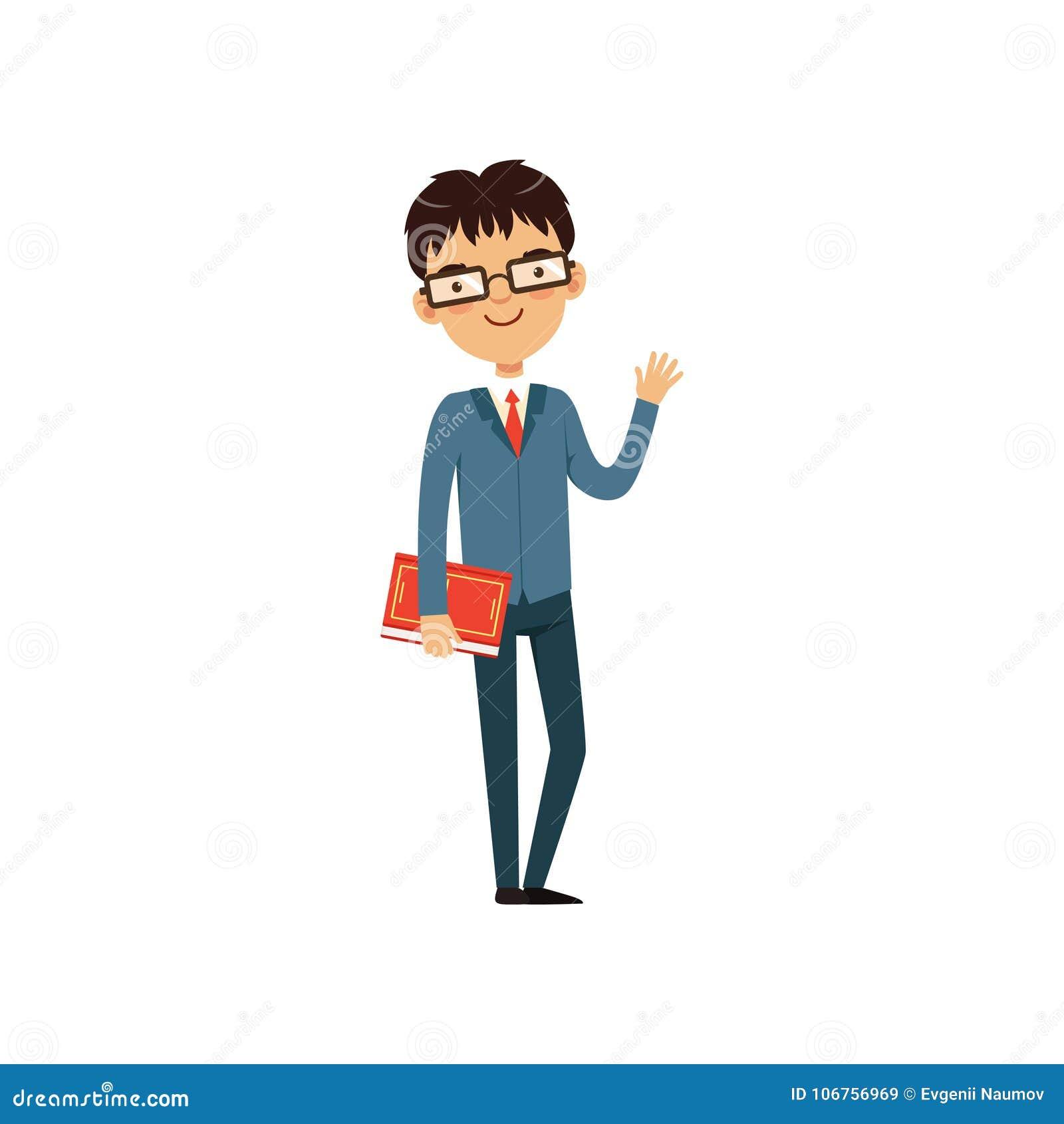 Professeur ou étudiant intelligent tenant le livre et ondulant à la main Caractère de ballot de bande dessinée dans les verres et