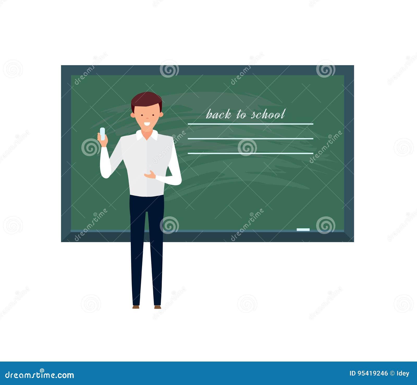 Professeur Professeur Se Tenant Devant Le Tableau Noir Vide D Ecole