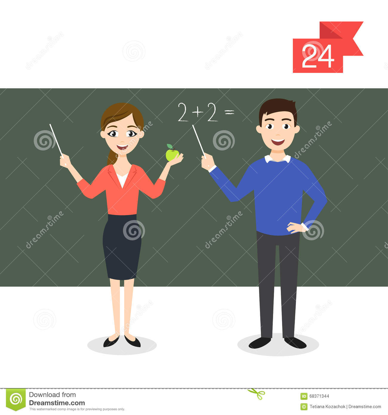 Woman Teacher Flat Characters Stock Vector - Image: 73814014