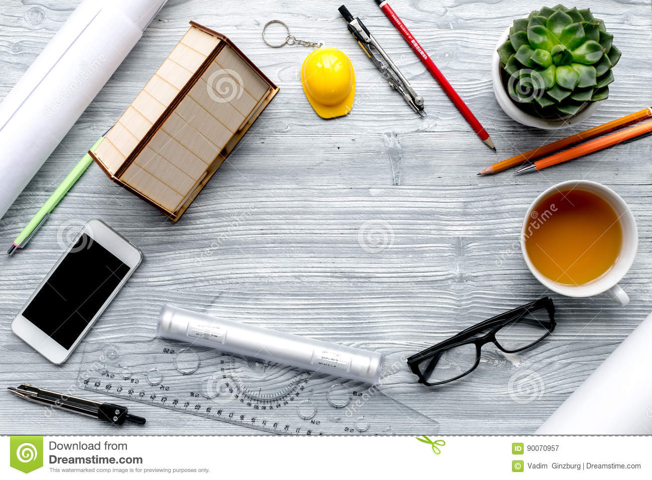 Architect Desk profession concept with architect desk and tools wooden background