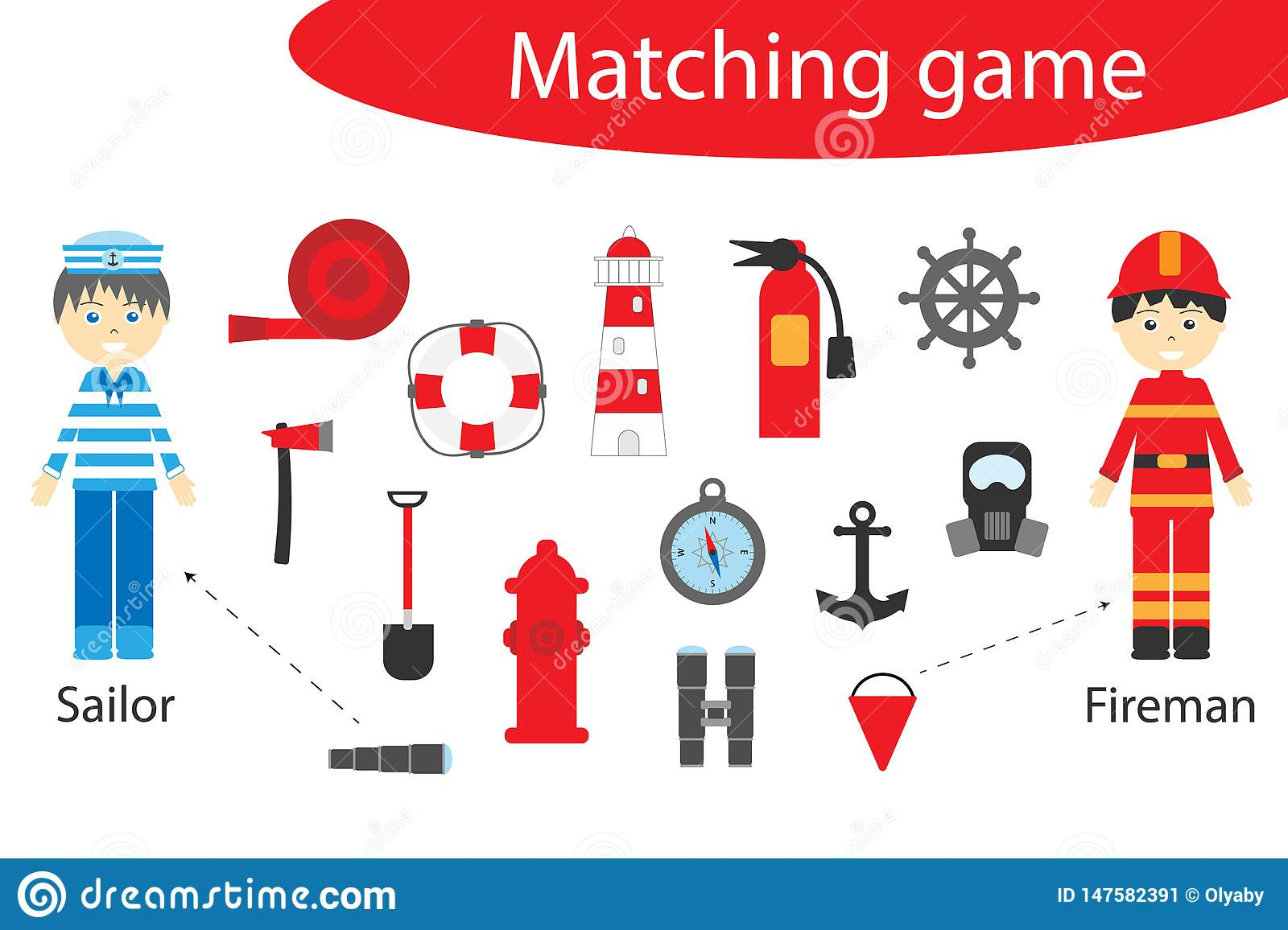 Profession Matching Game For Children, Connect Things With Need ...