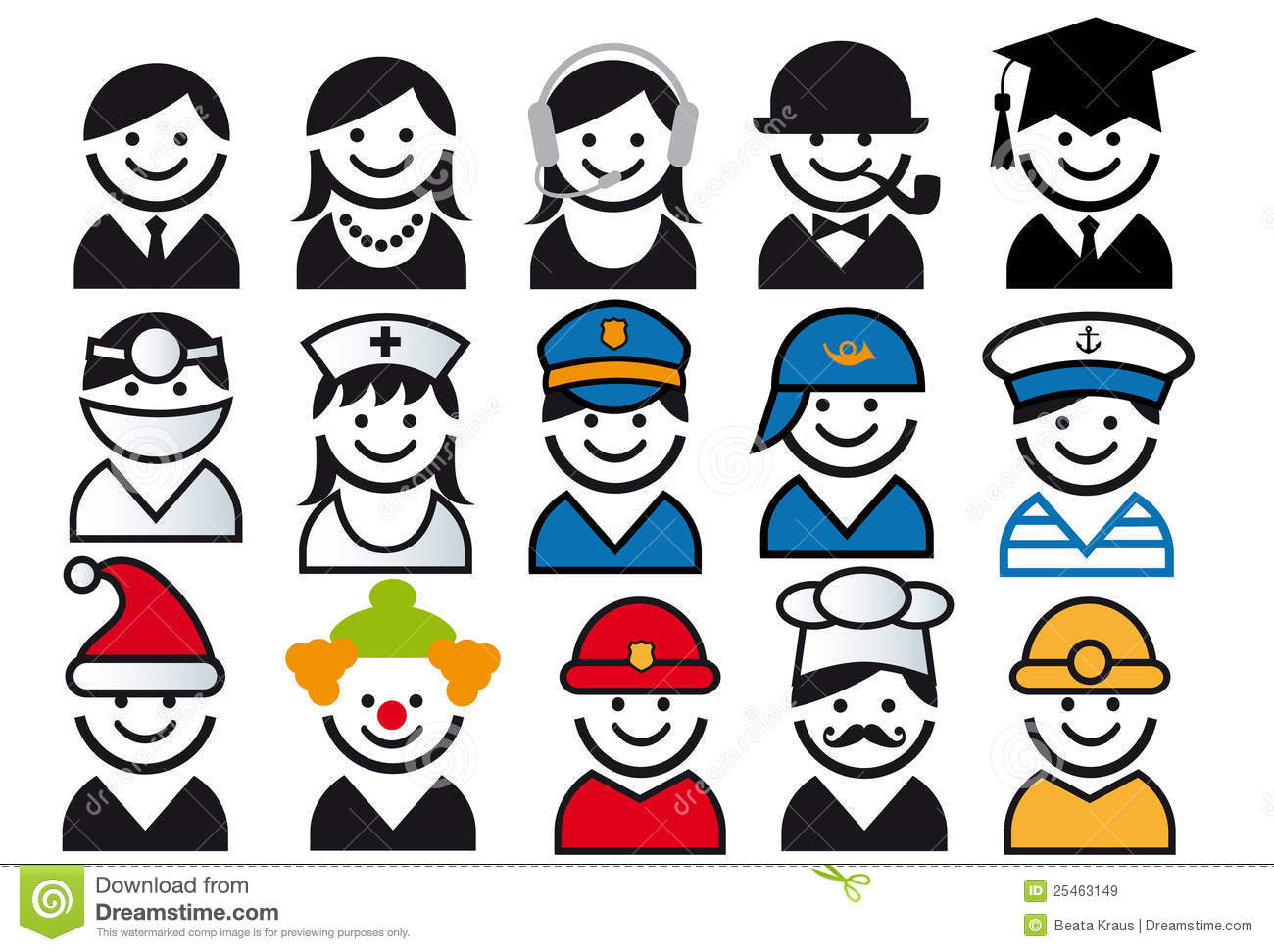 Royalty free stock images: profession vector people icon set