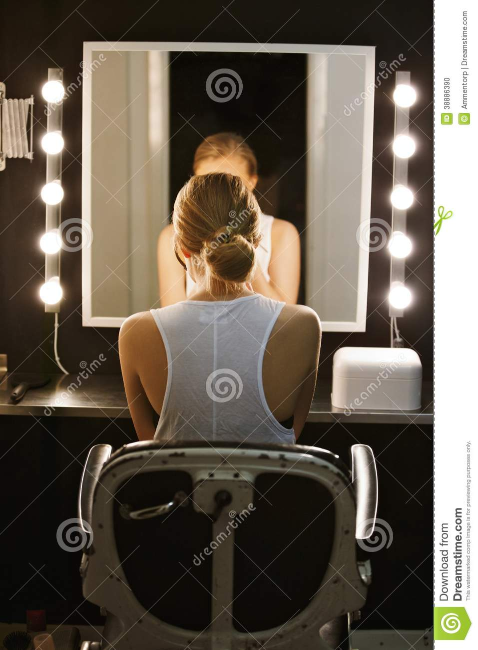 Professional Actress In Front Of Backstage Mirror Stock