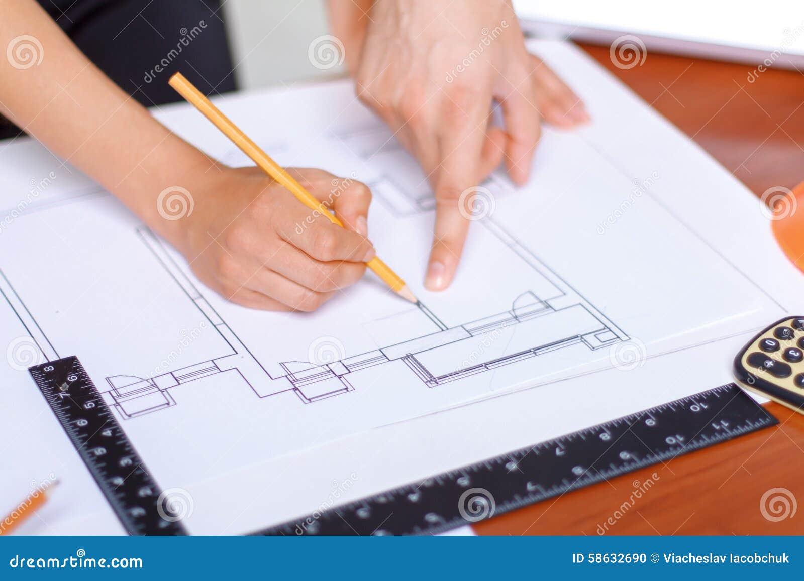 Professional architect making drawing stock photo image for Professional architect