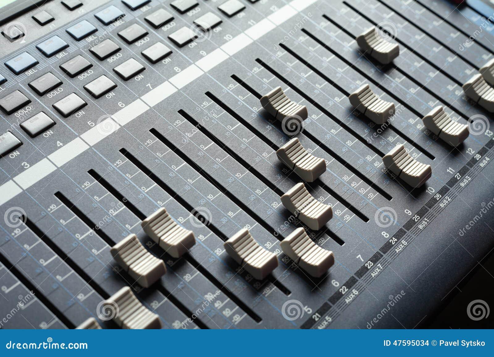professional audio mixing console recording studio equipment stock photo image 47595034. Black Bedroom Furniture Sets. Home Design Ideas