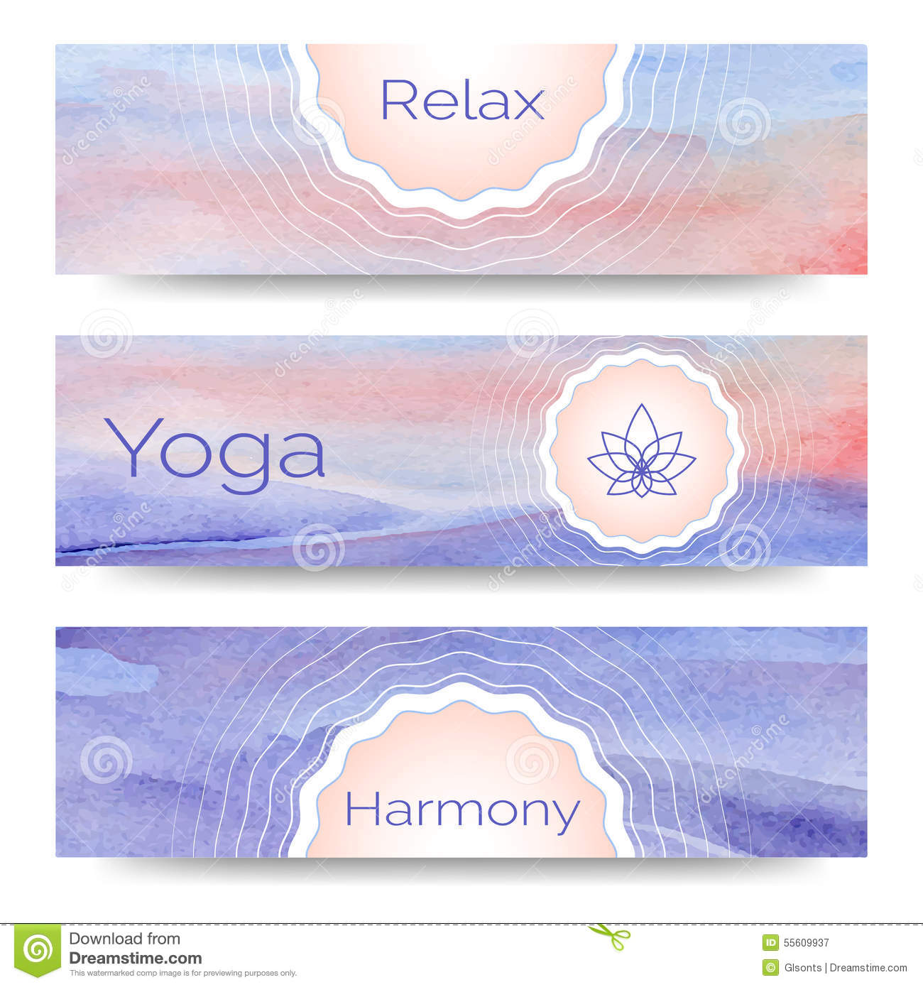 Professional Banner Templates Or Design For Yoga Studio Stock