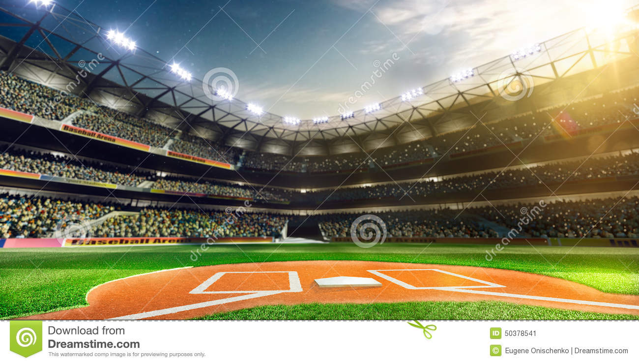 Download Professional Baseball Grand Arena In Sunlight Stock Image - Image of infield, outdoors: 50378541