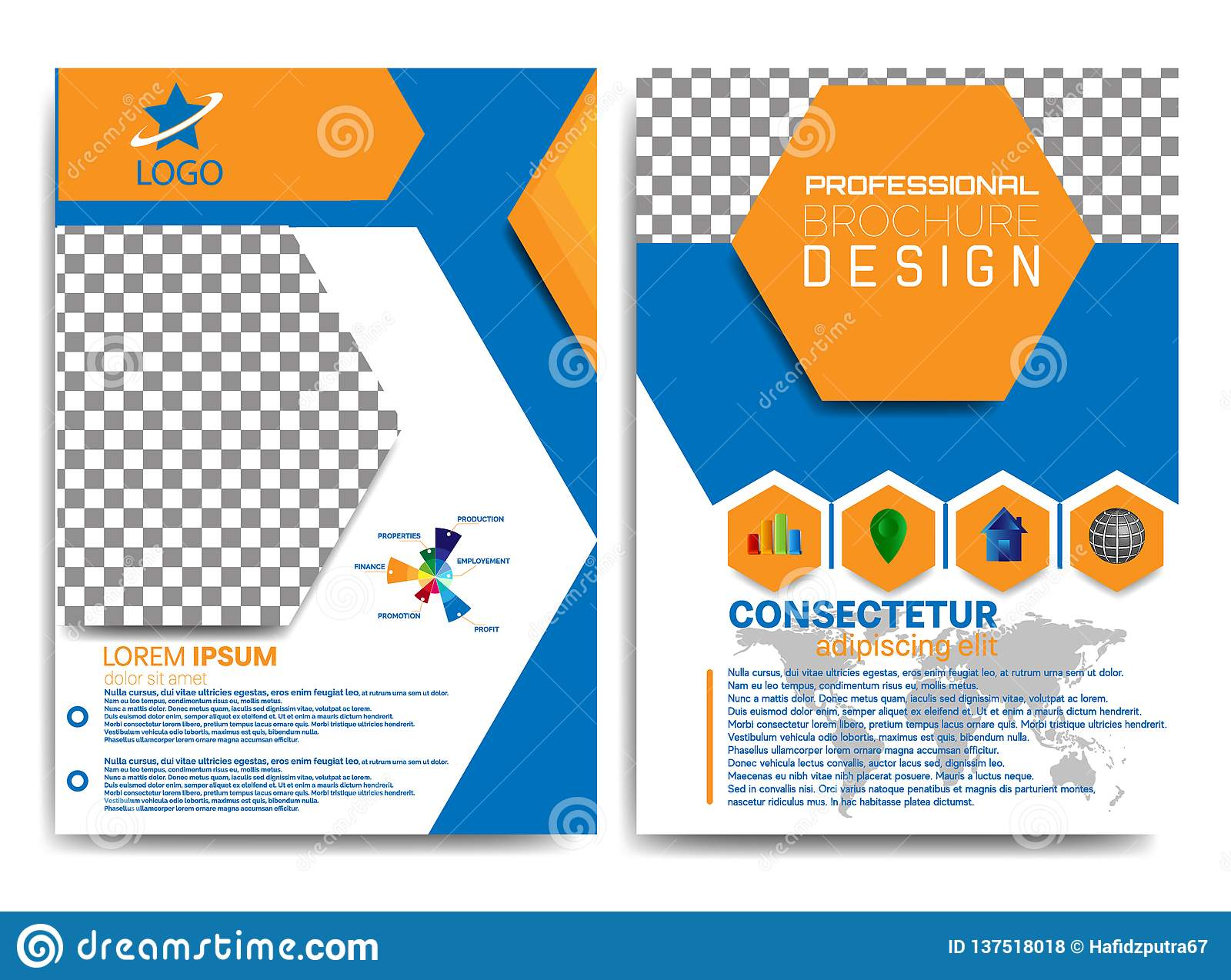 professional brochure design with blue and orange colors