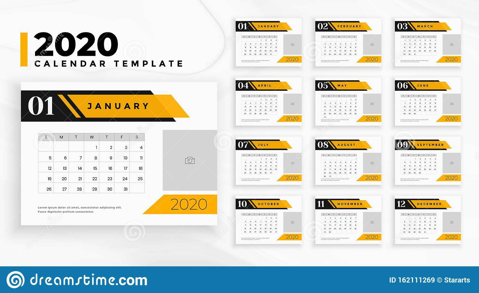 Professional business 2020 calendar in geometric style