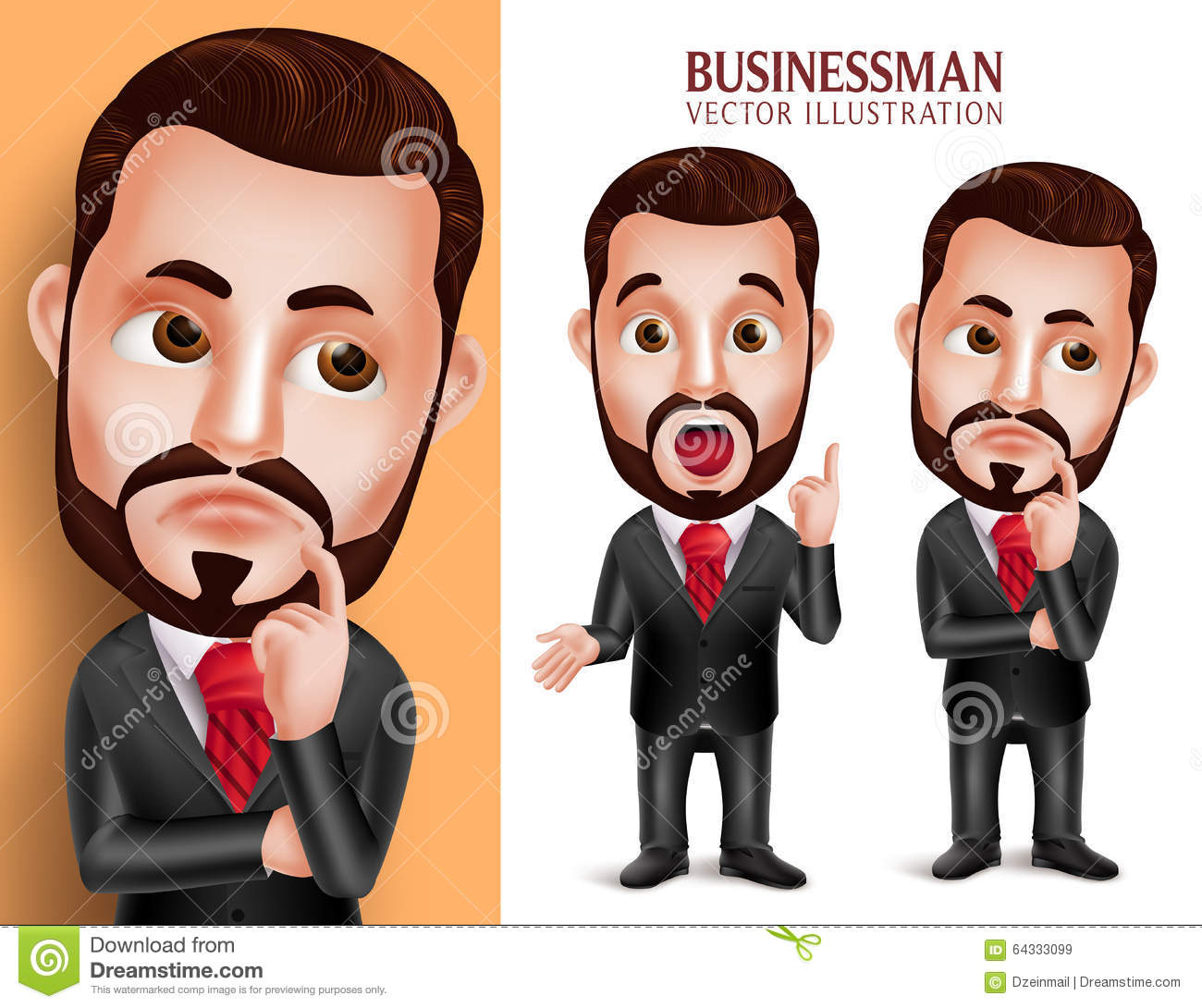 Professional Business Man Vector Character in Attractive Corporate Attire Thinking Idea