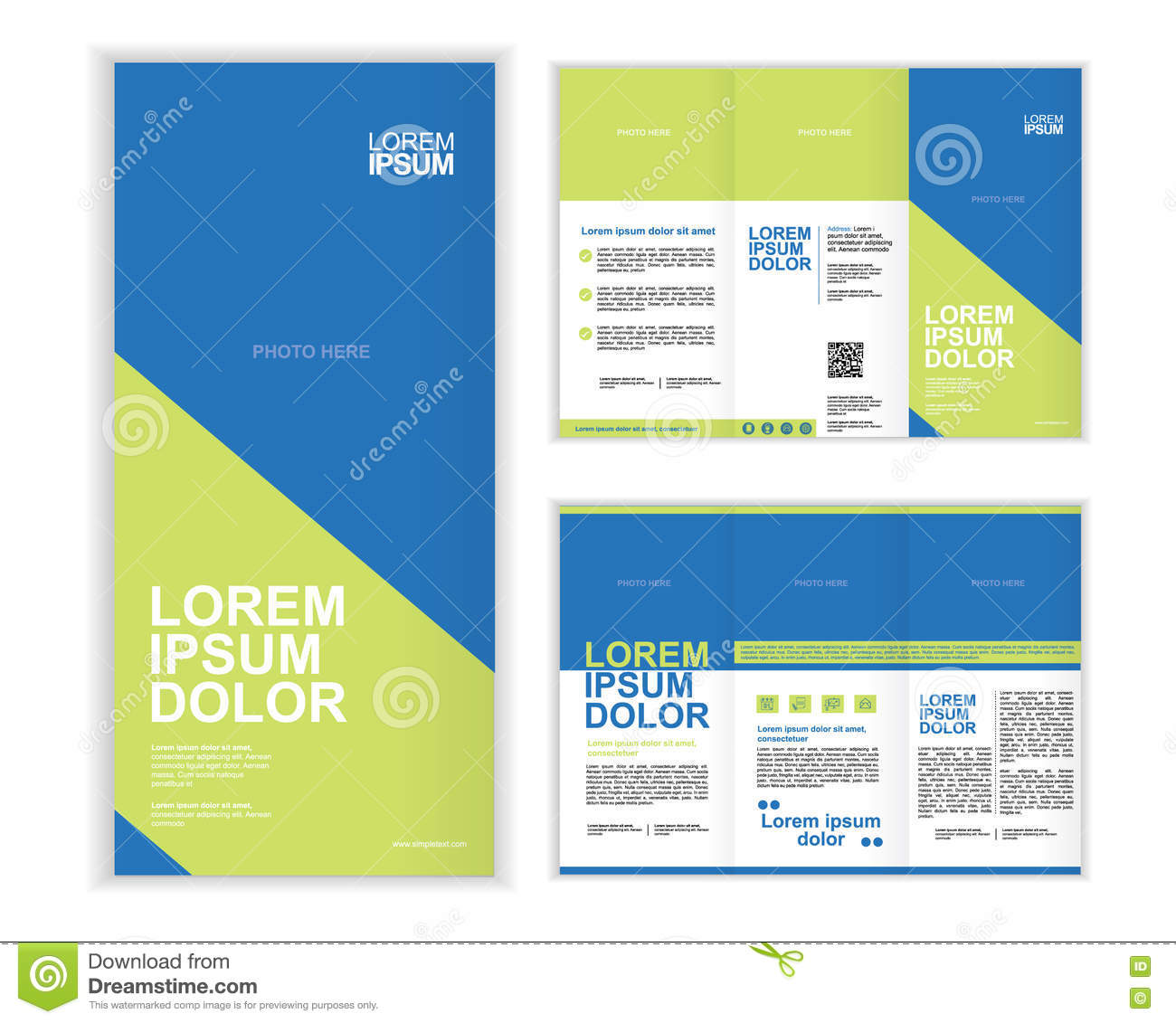 professional business three fold brochure template d stock vector