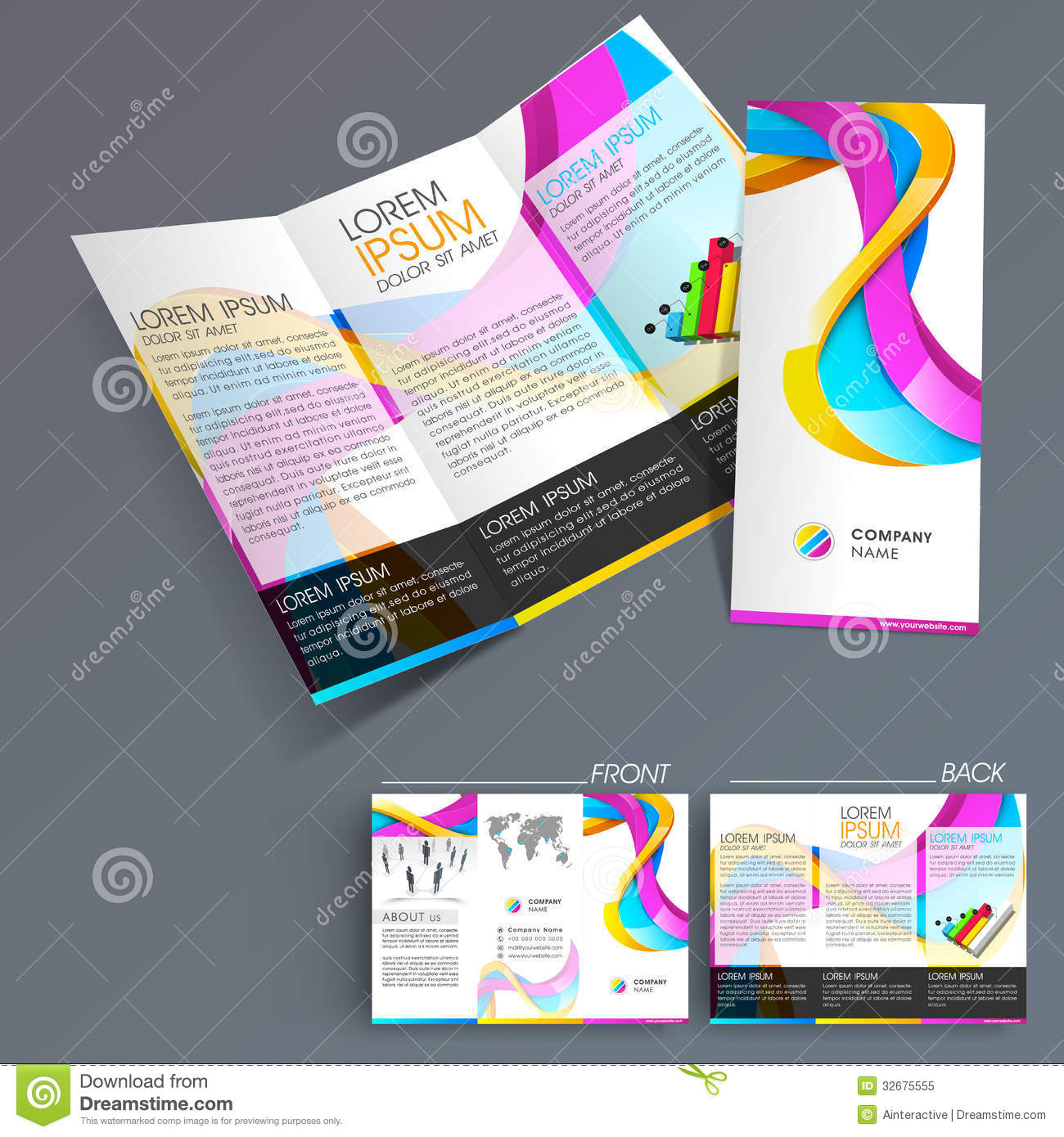 Professional Business Three Fold Flyer Template, Royalty Free ...