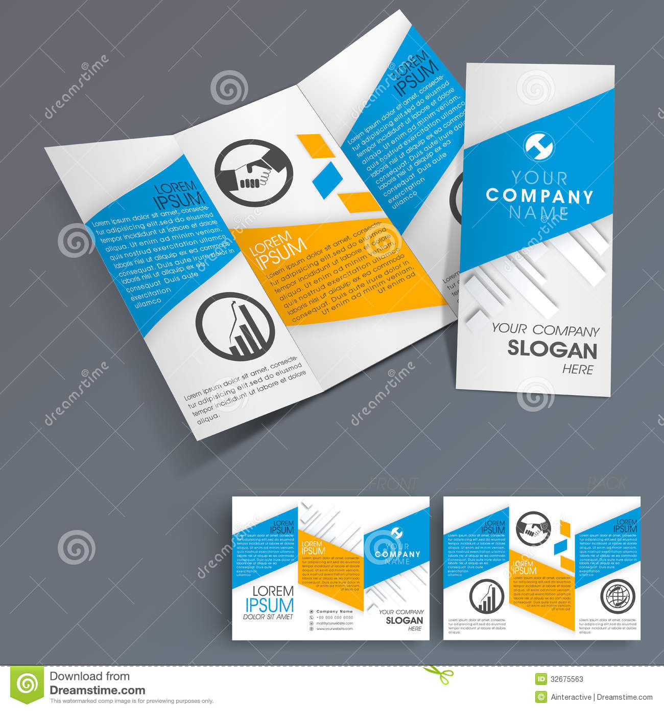 corporate brochure design templates - professional business three fold flyer template stock