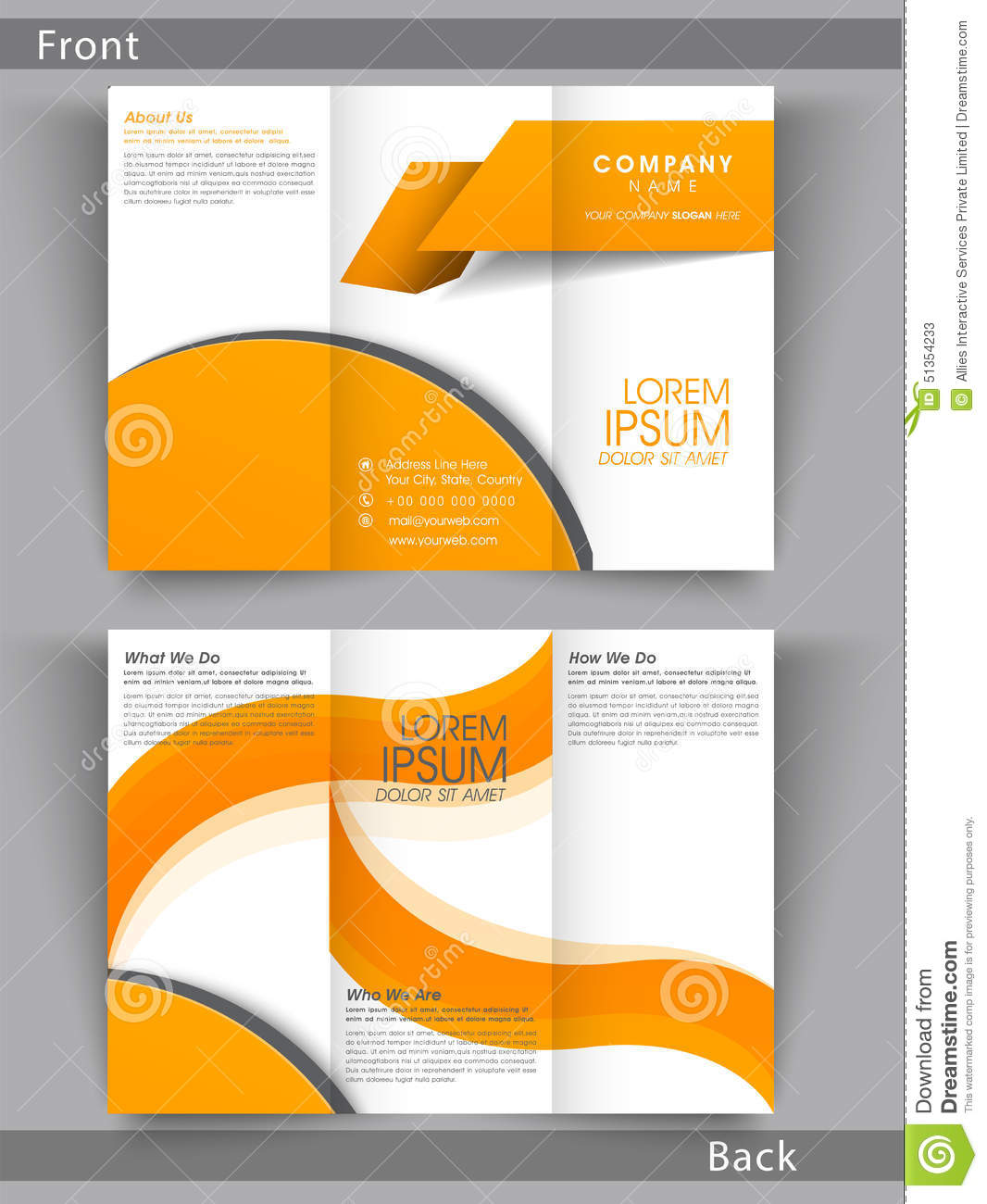 professional business trifold brochure or template design stock
