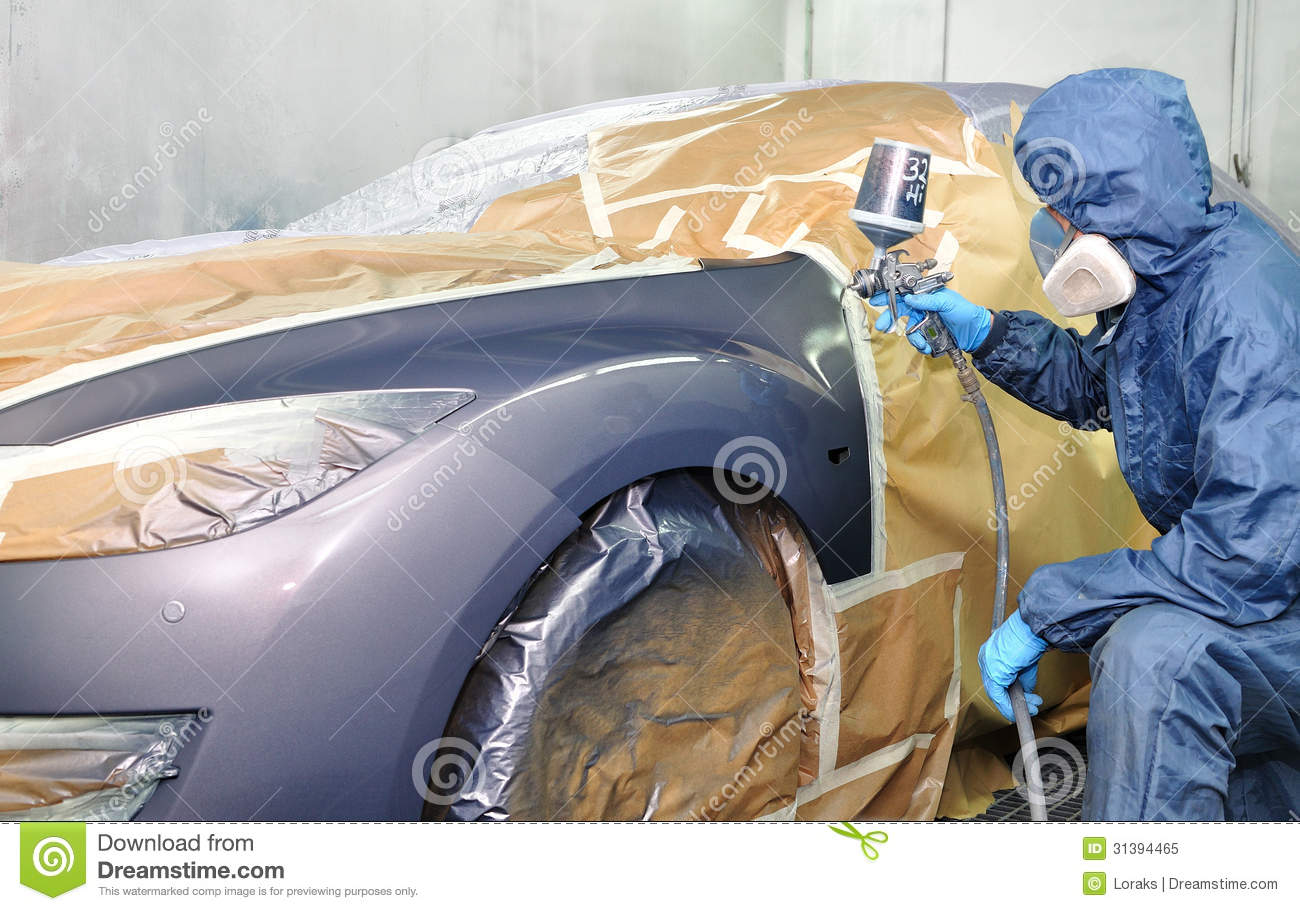 Professional Car Painting Stock Image Image Of Tape
