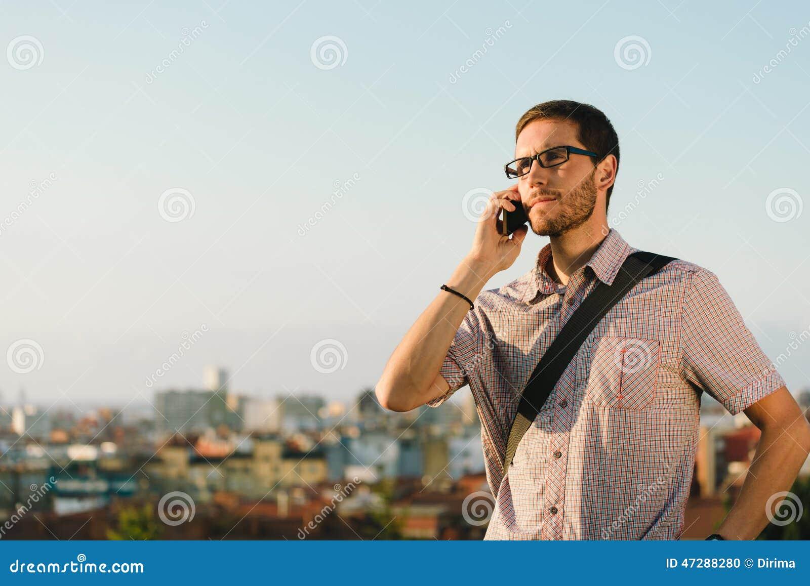 professional casual man on cellphone job call stock photo image professional casual man on cellphone job call