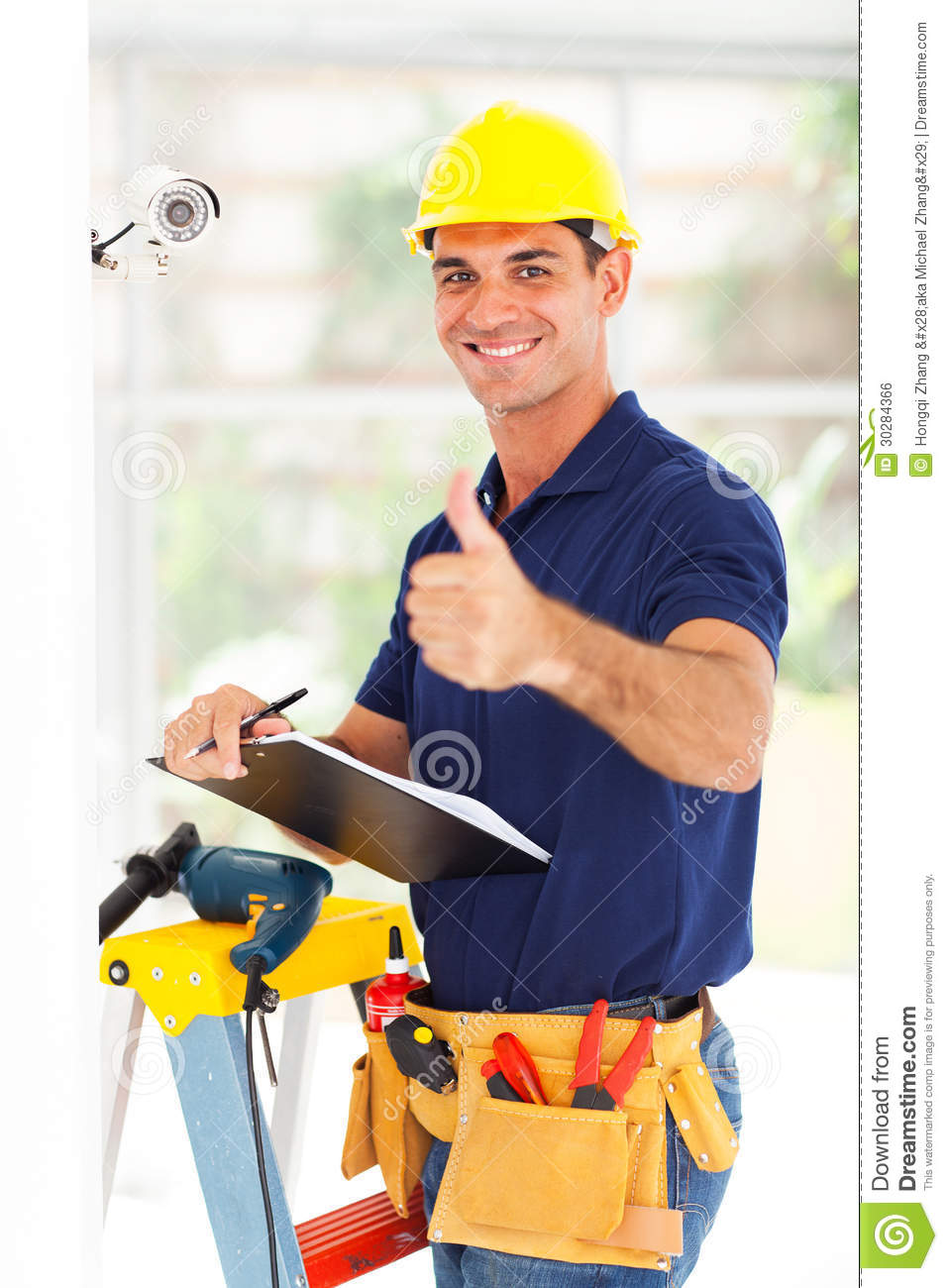 Cctv Teachnician Thumb Up Royalty Free Stock Image Image