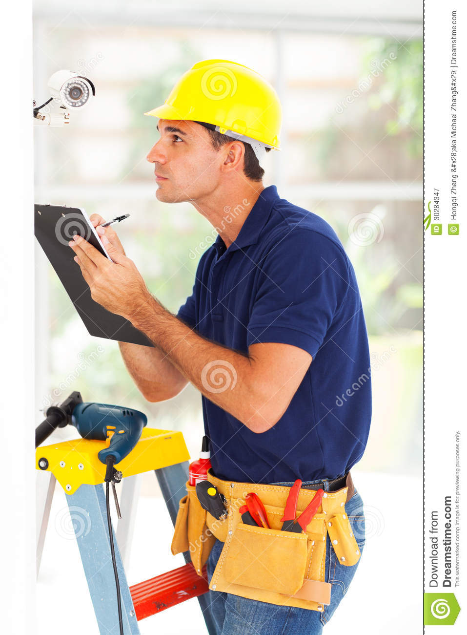 Cctv Technician Recording Stock Image Image Of Clipboard