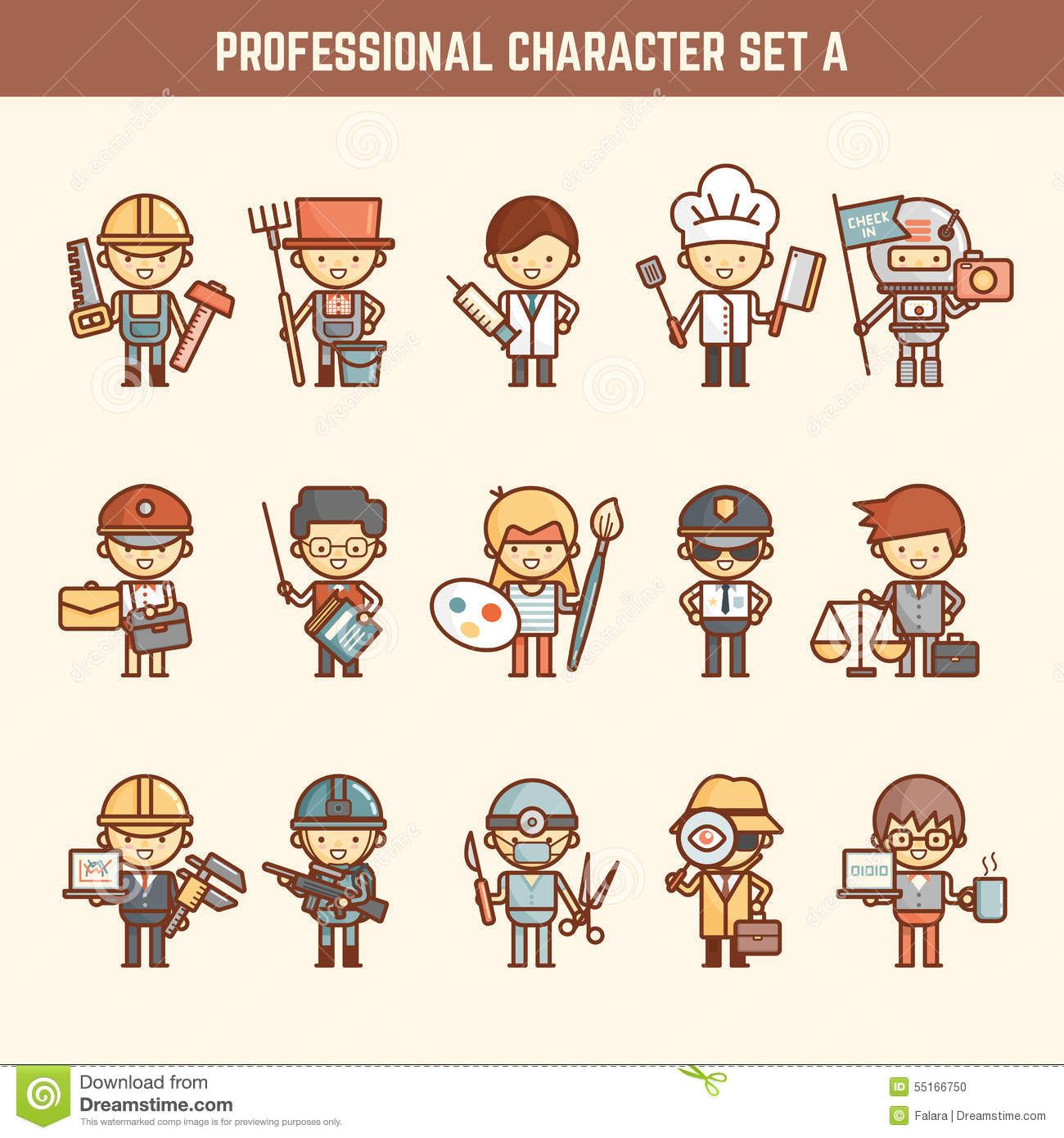 Professional Character Set Stock Vector Image 55166750