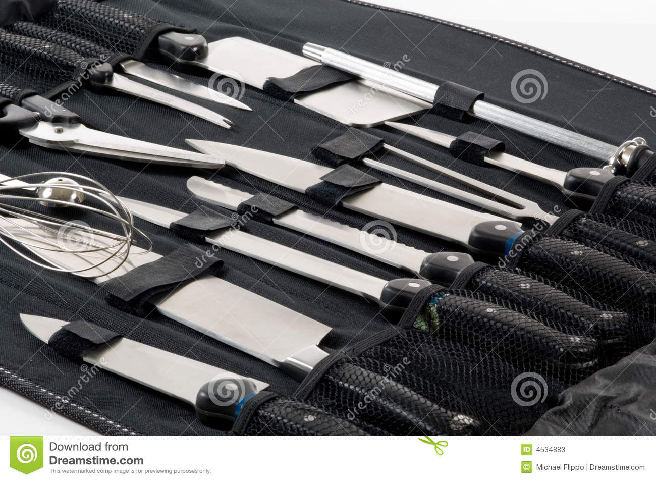professional chef 39 s knife set in black case stock image image of blade case 4534883. Black Bedroom Furniture Sets. Home Design Ideas