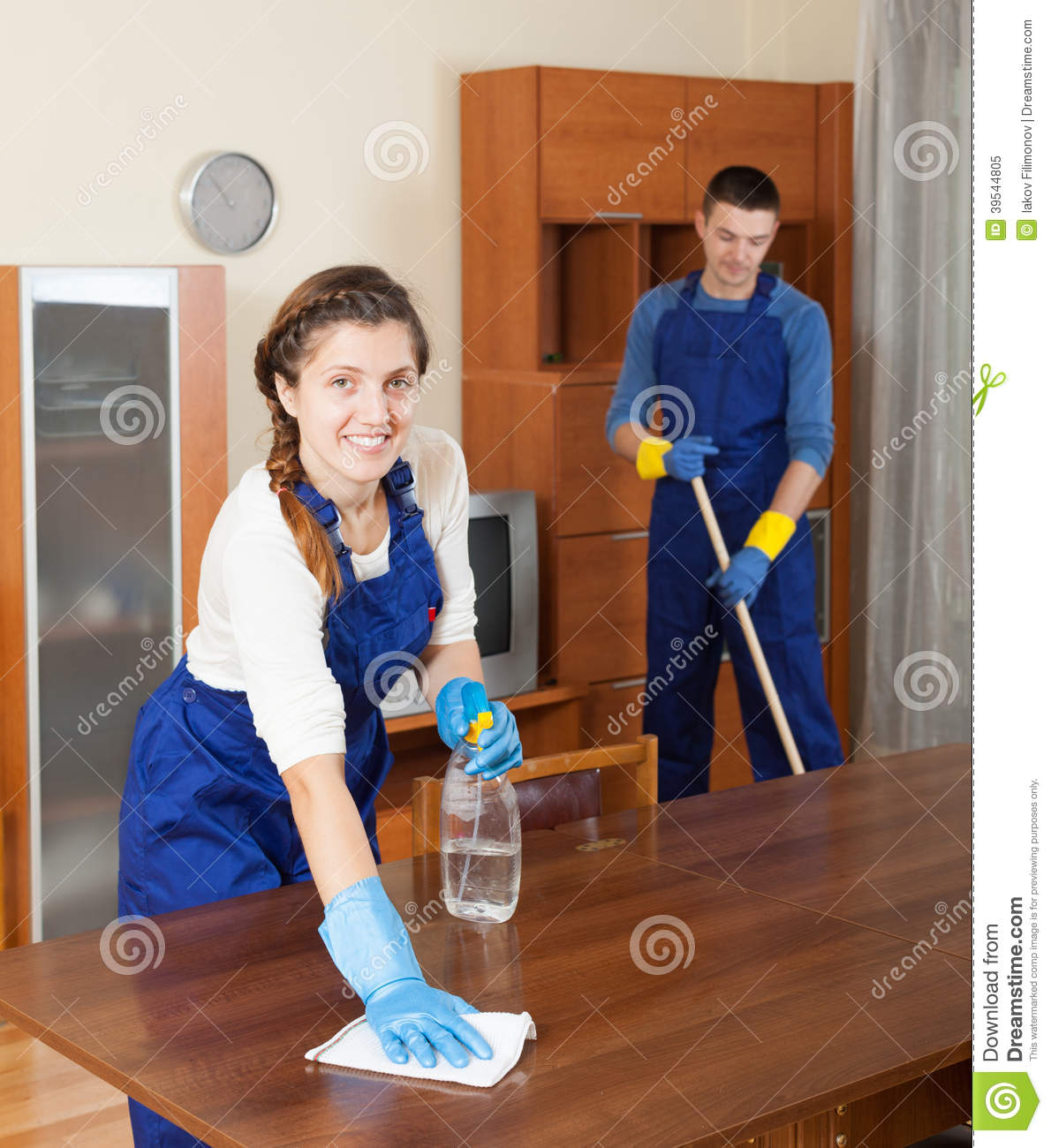 professional cleaners in uniform stock image