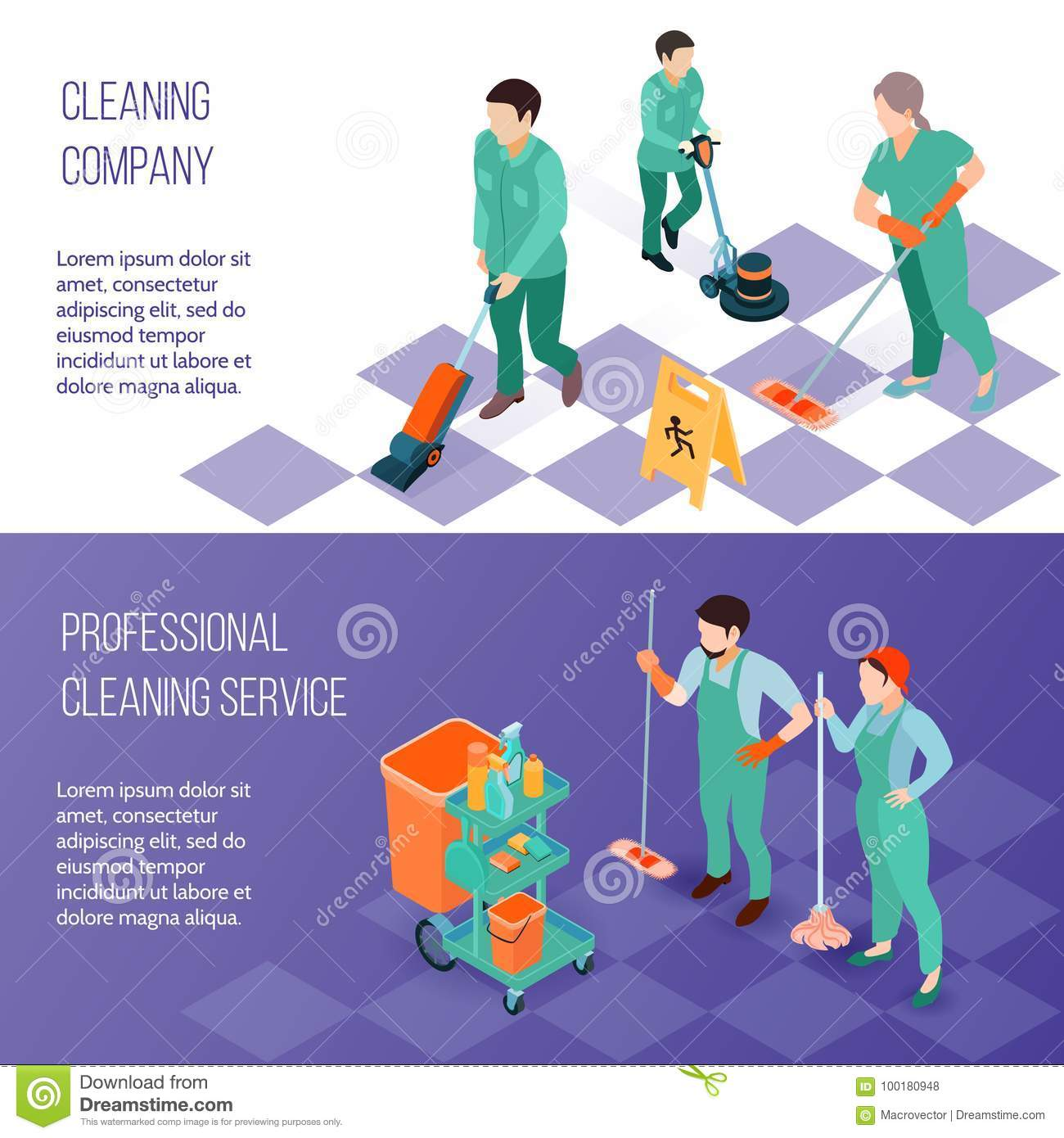 Professional Cleaning Service Isometric Banners Stock Vector