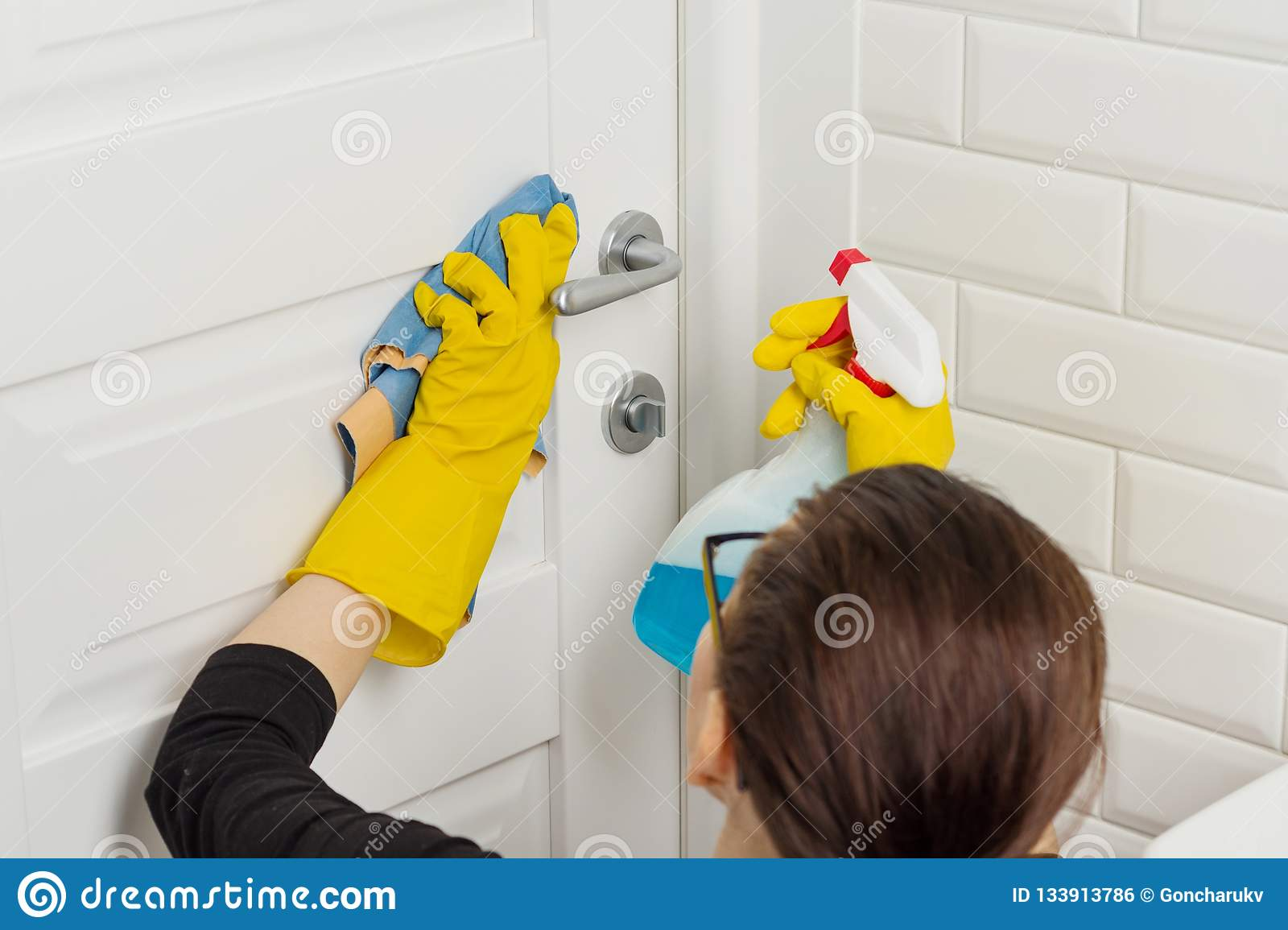 Professional Cleaning Services  Woman Worker In Rubber