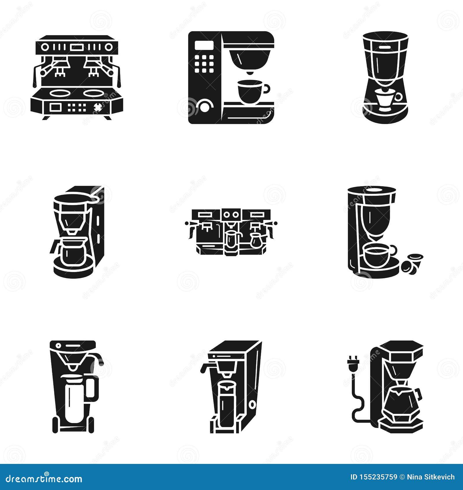 Professional Coffee Machine Icon Set, Simple Style Stock ...