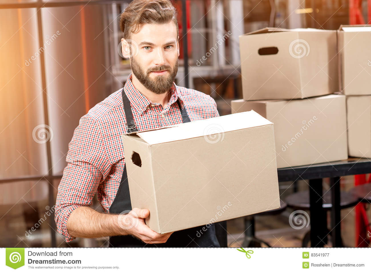 Professional courier with boxes