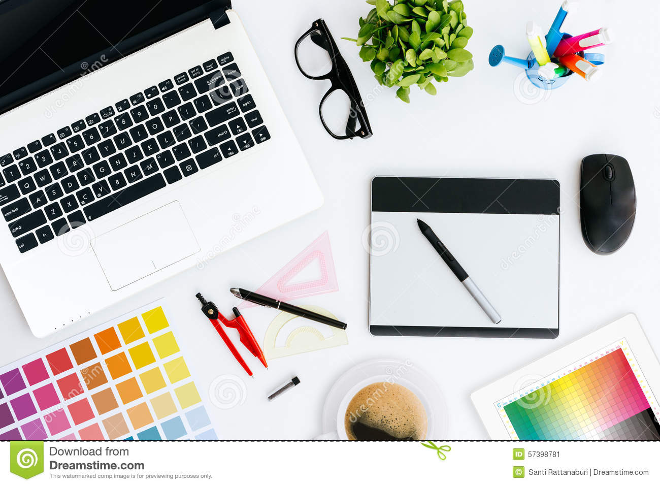 Professional creative graphic designer desk stock image for Digital blueprint maker