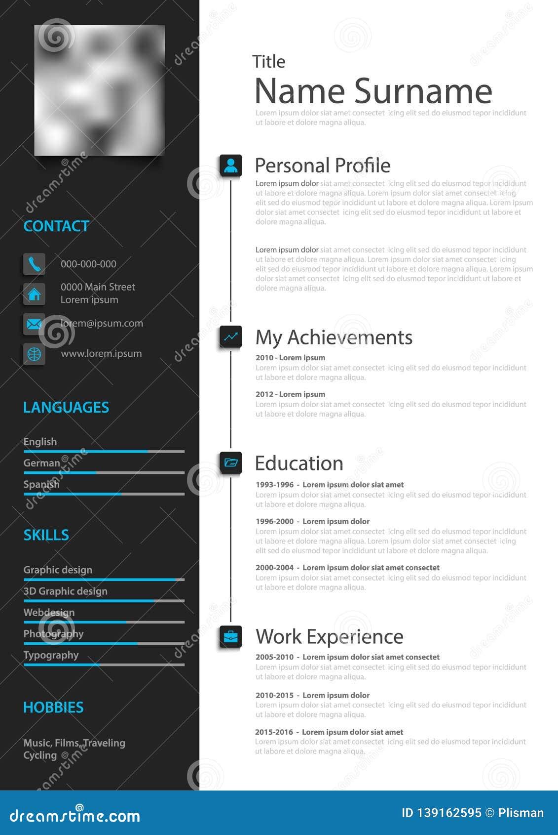 Professional Creative Personal Resume Cv In Black White Design