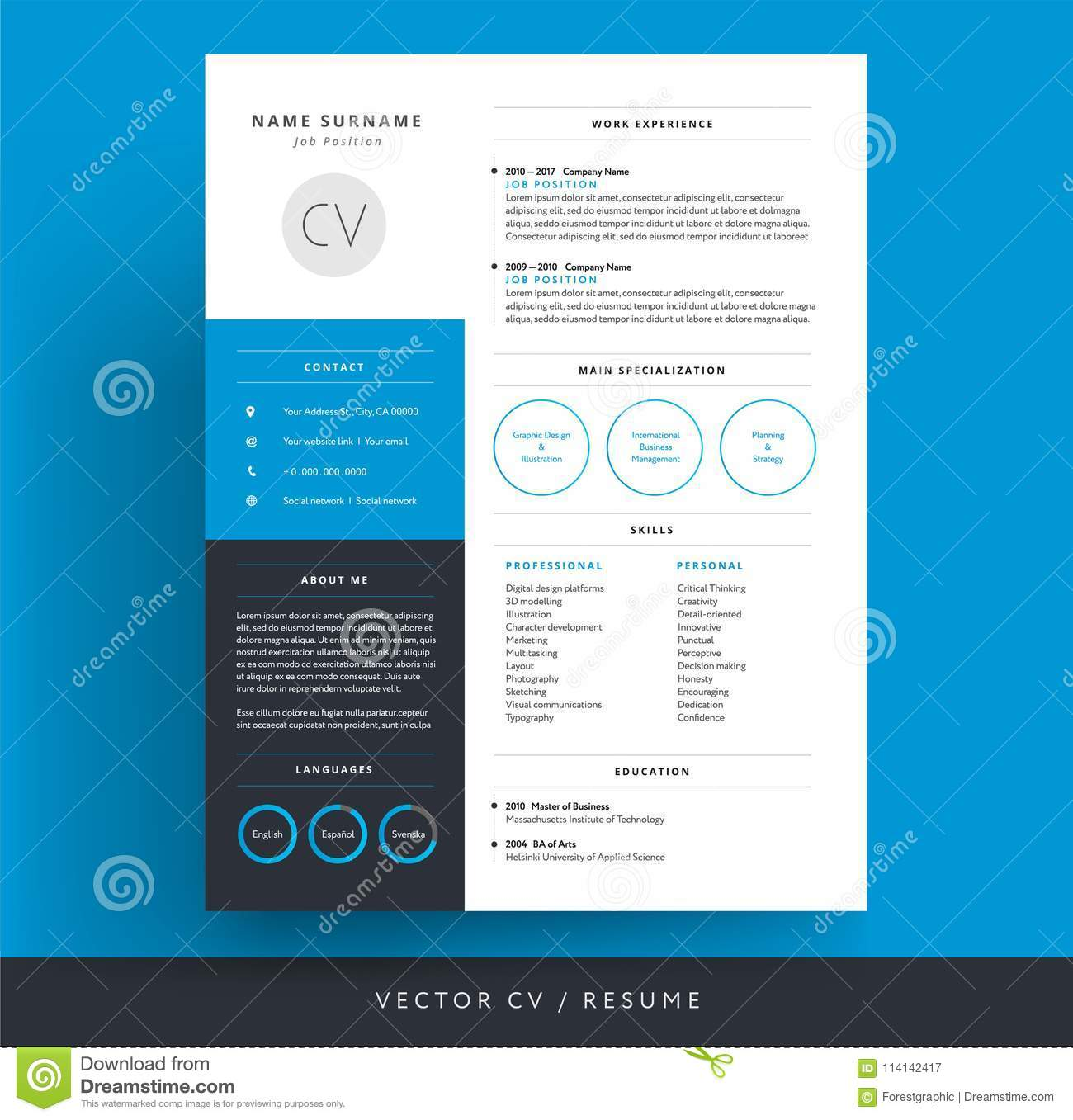 professional cv resume template blue background color minimali