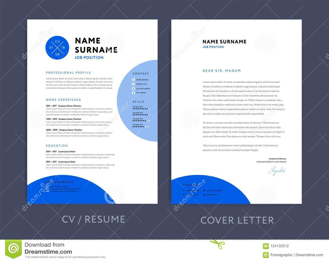Professional Cv Resume Template Blue Design And Letterhead Cover