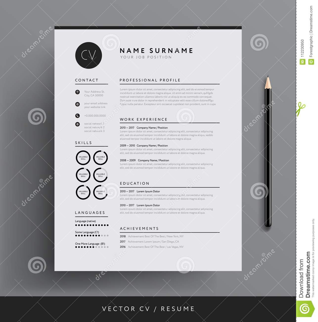 Professional Cv Resume Template Design For A Creative Person V