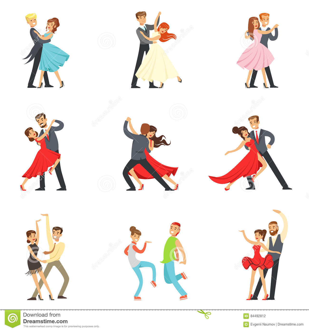 Cartoon Character Design Competition : Professional dancer couple dancing tango waltz and other