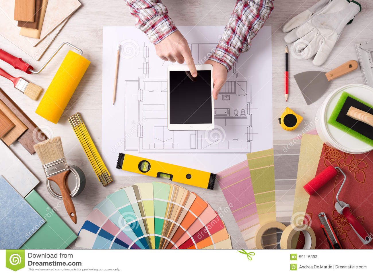 Professional decorator working at desk stock photo image for Professional decorator