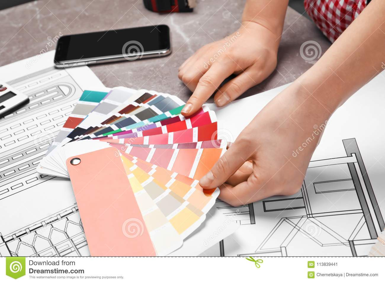 Professional Decorator Working At Table Closeup Stock Image