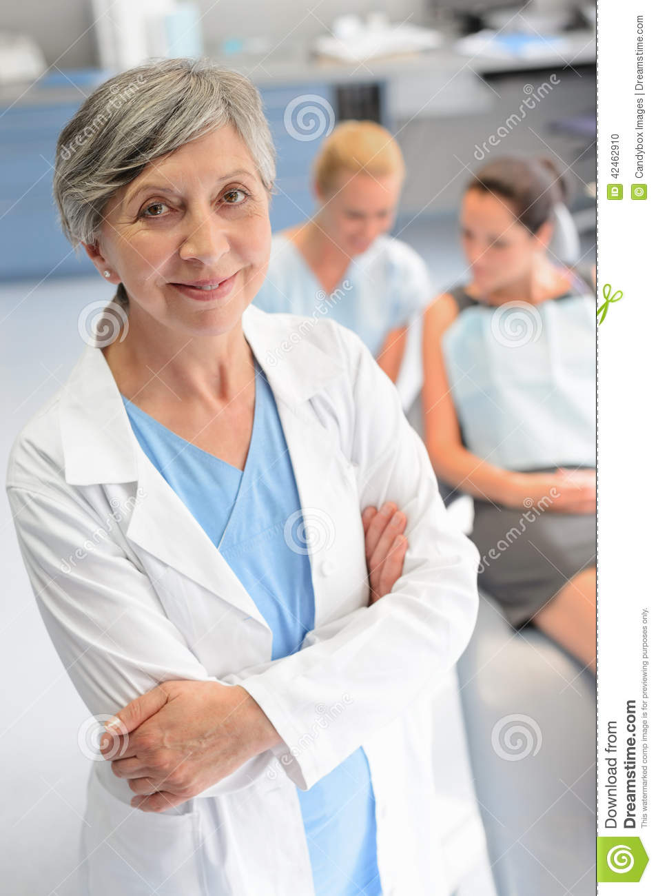 Professional dentist woman patient at dental surgery