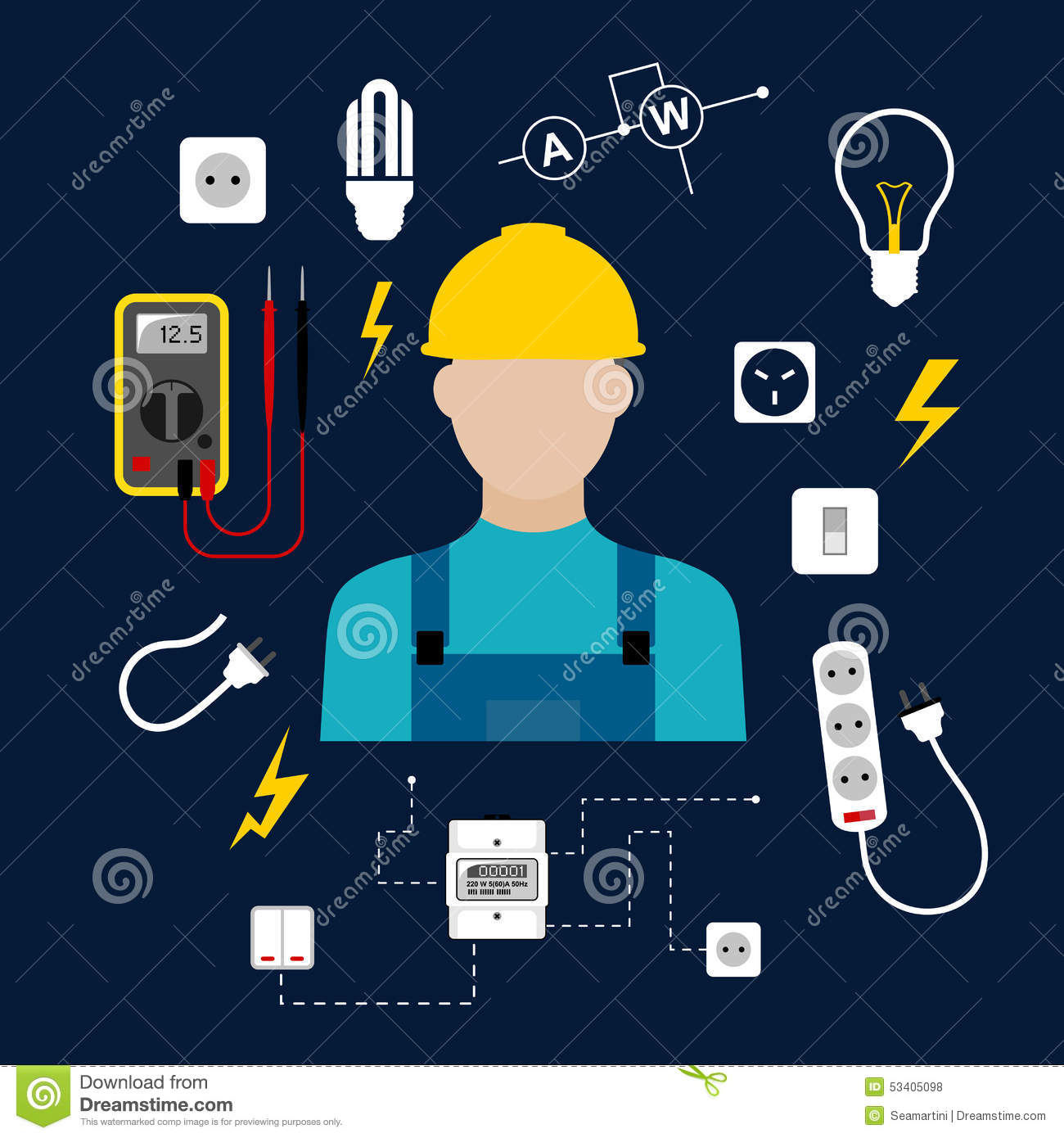 professional electrician with electric tools and stock