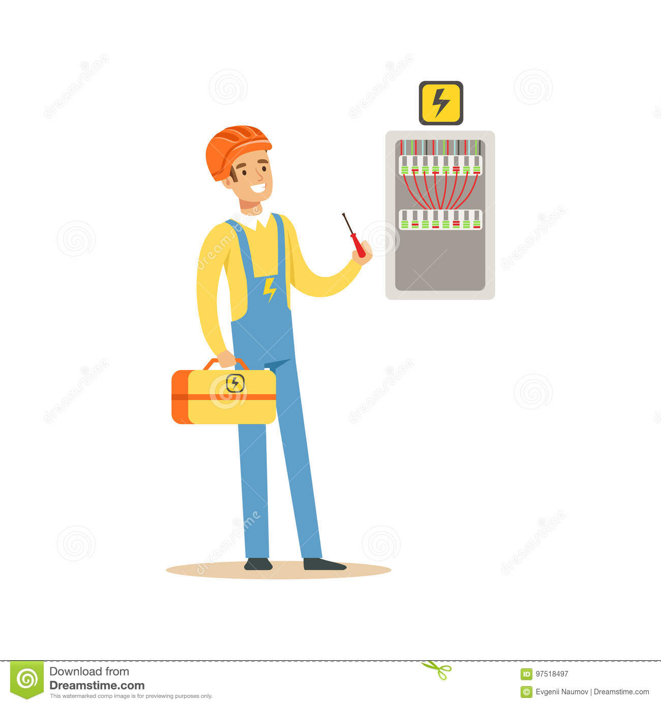 Professional electrician man character screwing equipment in fuse box,  electric man perforrming electrical works vector